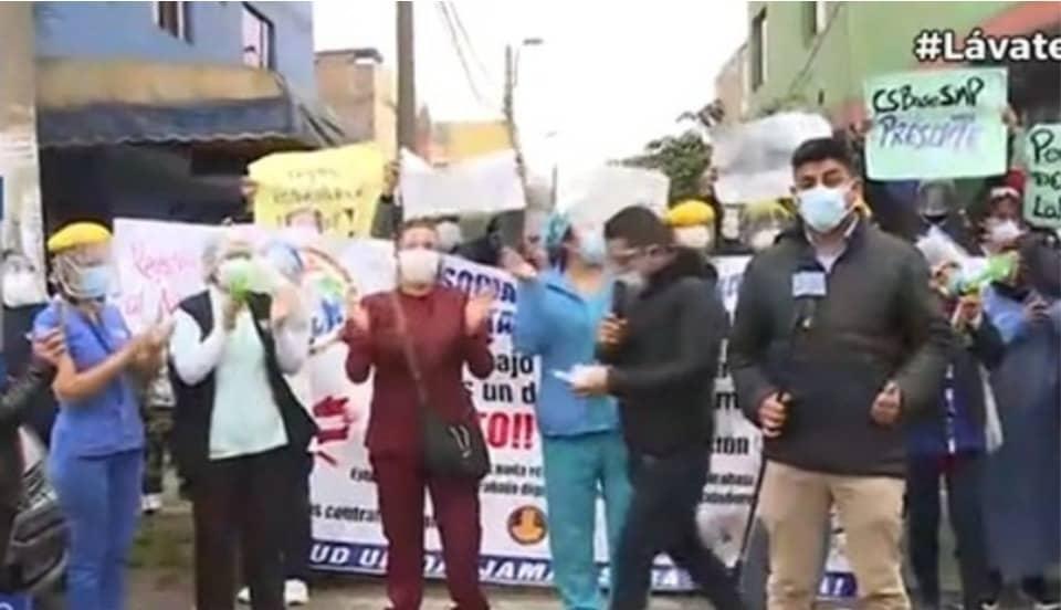 Independencia: Personal de la Diris Lima Norte realiza protesta por sus derechos laborales