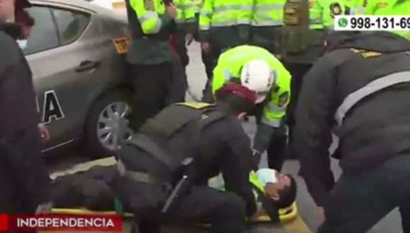 Independencia: Choque de patrullero con un taxi deja dos policías heridos