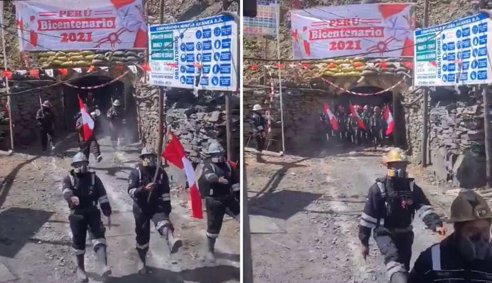 Fiestas Patrias: Mineros paralizan su labor para realizar su propio desfile