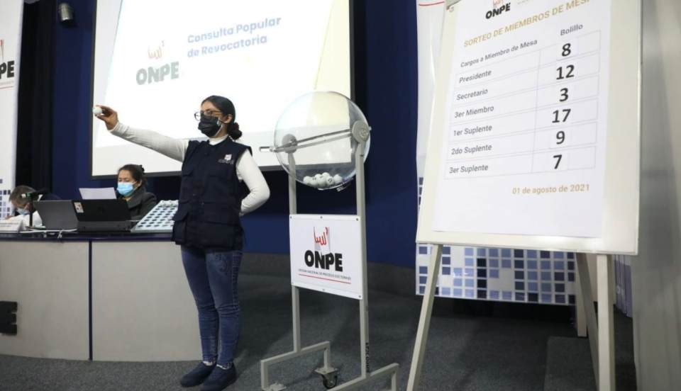 ONPE: 606 miembros de mesa fueron sorteados para Consulta Popular de Revocatoria 2021